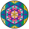 mandala: round coloured shape made using elliptic vector shape