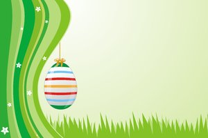 Spring Dream 3: Spring green wallpaper with elements such as Easter eggs, flowers, notes and treble clef