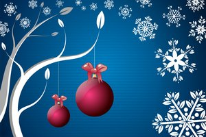 Christmas Background: Crystal balls and floral snowflakes on the blue background