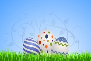 Floral Eastern Eggs 2: Easter eggs on the blue background with floral