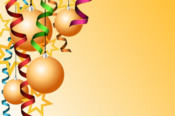 Christmas  - New Year: serpentine, christmas balls and stars on a yellow background