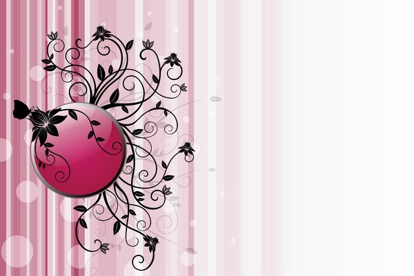 Red Floral Frame: Frame with a black floral and butterfly on a red/pink background