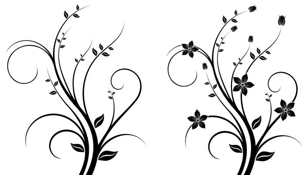 Isolated B&W Floral Set 3: Package of black and white isolated objects (florals), containing  flowers, trees, leaves, etc.