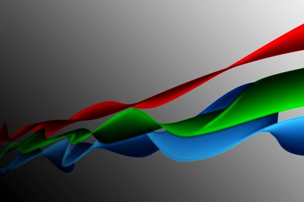 RGB Waves 2: Three waves of red, green and blue on a gray background with stripes