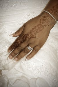 hand in marriage: Henna on the hand of a bride on her wedding day...
