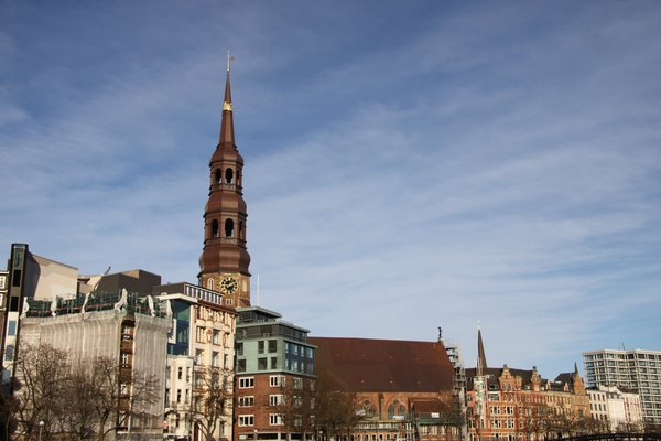 City scene: St, Katharinen church in Hamburg with her crown around the tower