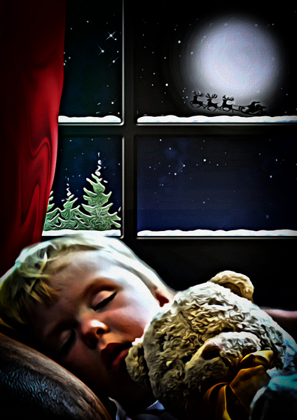 Christmas Dreaming:  Childs dream at Christmas. Please like if you download.  Mixture of painting, drawing, computer graphic and photography.