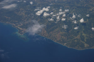 island: aerial shot of islands and waters...