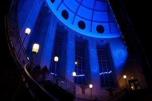 Blue light: In the south entrance of the