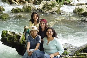 Enjoying a trip: A group of girls visits a wonderful place in Carchá, Guatemala.