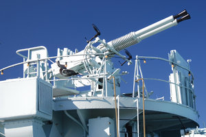 Anti-aircraft warfare: Anti-aircratf cannons on the deck of polish destroyer
