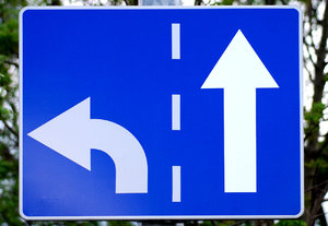 Directions arrows: Road sings with white arrows
