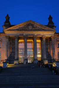 German parliament building at : Floodlight by Reichstag in Berlin