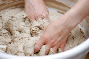 Hand making of bread 2: Knead of  ecological bread