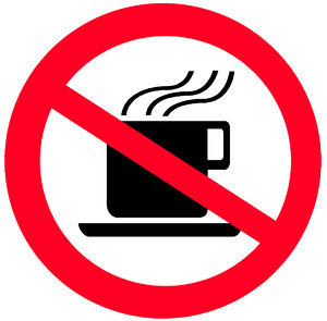 Sign NO HOT DRINKS: Round sign of prohibition