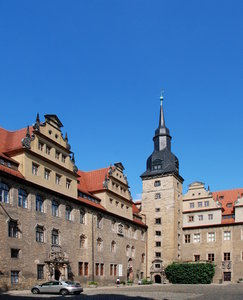 Merseburg castle - courtyard: Merseburg is a german city in Saxony. Merseburg was first mentioned in 850. King Henry the Fowler built a royal palace at Merseburg.