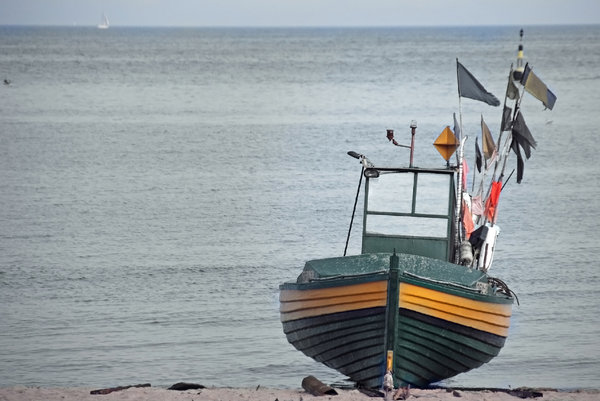 Fisherman's boat: Baltic fisherman's boat on the beach in Gdynia