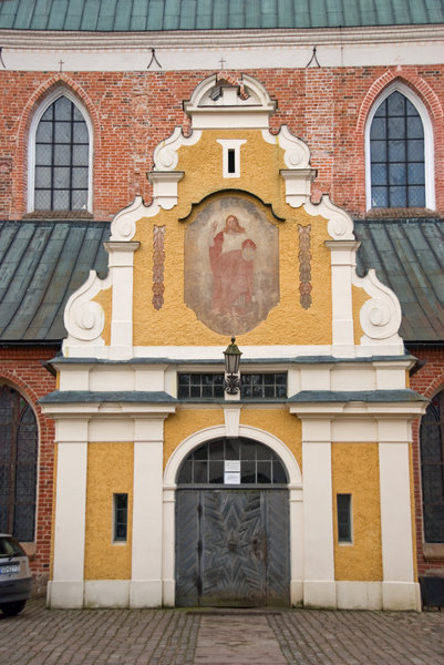 Barocque entrance: Side entrance to cathedral in Oliva (Gdansk), Poland