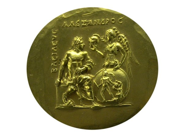 Ancient greek coin: Gold coin with goddes Athen and Alexander the Great