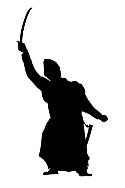 Silhouette of man with sable: Figure of polish insurgent Jan Kilinski