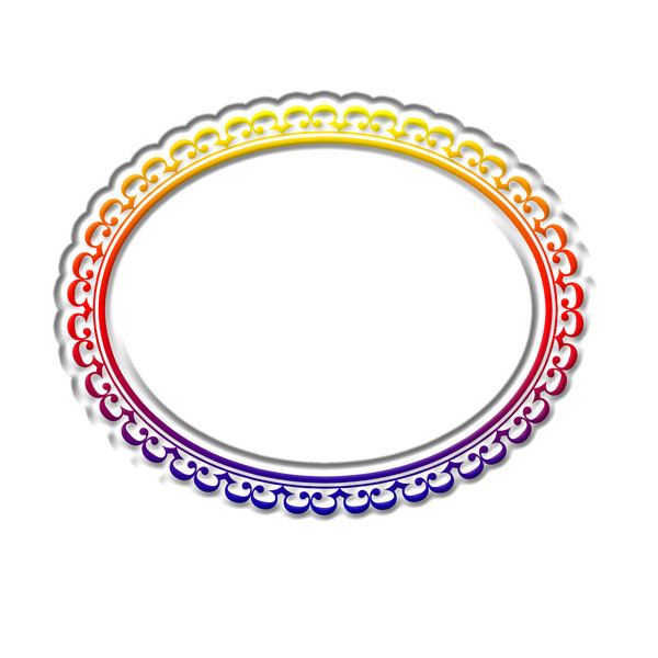 Horizontal oval frame 3: Decorative oval frame for painting or photo