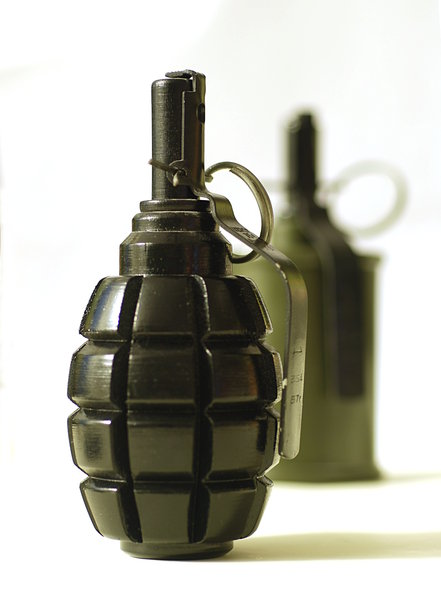 Hand grenade 4: A hand grenade is an anti-personnel weapon that explodes a short time after release.