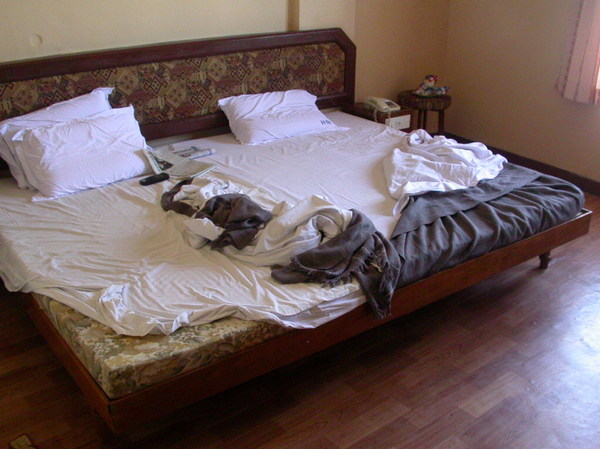 Pondicherry escapade 2: The memory of sleep lingers over this bed.