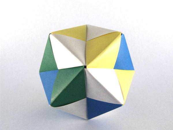 Dodecahedron: A Dodecahedron made with modular origami.