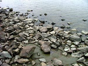 Rocks and water: Chunks of grey rocks bording a lake where the level of water was particularly low.