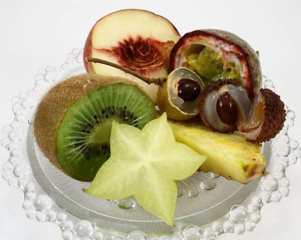 Fruits: Fruit plate including exotic fruits