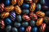 Easter eggs: colored chocolate Easter eggs