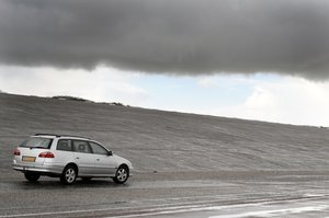landscape: gray landscape with silver car