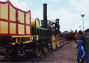 Stephenson's Rocket: replica of Stephenson's Rocket.This photo was taken at the 'Rocket 150' event  which  commemorated the 1829 Rainhill trials.  This consisted of a 'Cavalcade of Steam' with working locos on the main Liverpool - Manchester  rail line, followed by a