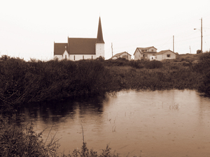 Peggy's Cove church: The village of Peggy's Cove, Nova Scotia. A view from across a pond at the heritage church.
