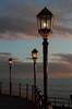 Lamp Posts: Lamps posts on a pier at sunset