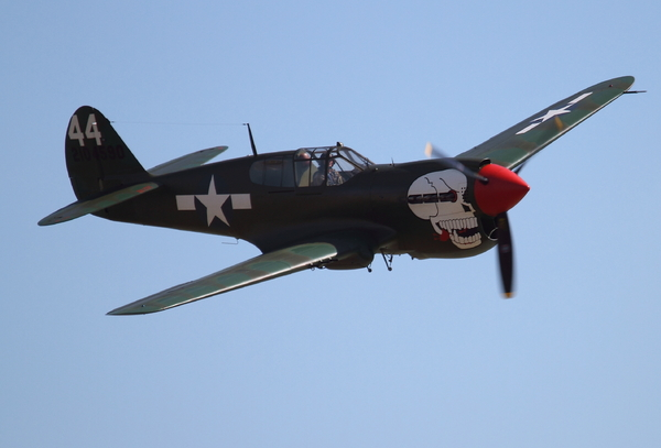Curtiss P-40 Kittyhawk: Flypast by Kittyhawk following the unveiling on 18 August 2013 of the new Canadian war memorial on Worthing seafront