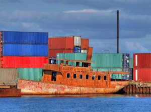 Containers - HDR: Harbourscapes with rusty boat and lots of containes