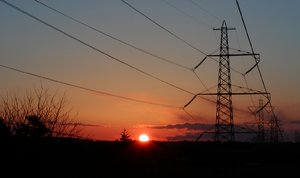 Setting the power 2: Powerlines in sunset