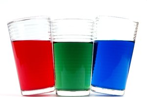 RGB - glases: Three glasses with each color: red, green and blue: RGB