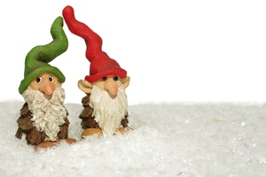 Gnomes in snow: Two gnomes with tall hats in snow.