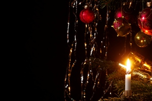 Christmas tree: Christmas tree with ornaments and candle