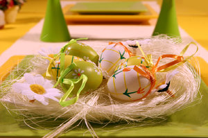 Easter: easter still life in vivid yellow and green