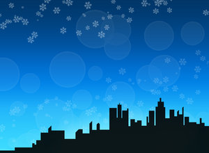 Winter skyline background 1: A city skyline in a winter/christmas theme.