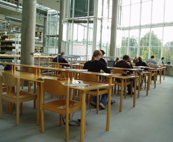 studying 3: photos from a library with students