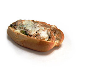 Hot Sandwich: Hot chicken sandwich with melted cheese, mushroom, onions and green peppers