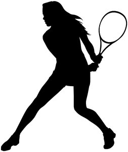 Tennis Silhouette Female: Vector Art