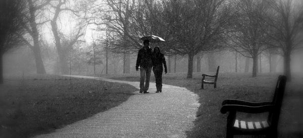 Walking in the rain: Romantic couple walking through a park in the rain