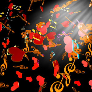 music and hearts: music and hearts-3D graphic