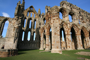 Whitby Abbey 4: Perched high on a cliff, the gaunt remains of this once magnificent abbey stand high above the picturesque seaside town of Whitby.
