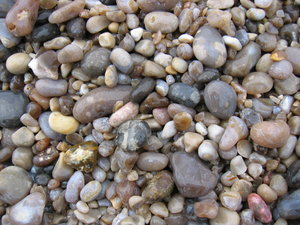 Wet stones and beach: Stones and beach